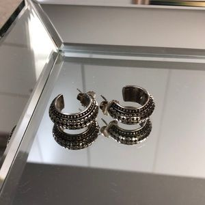 Silver and black pierced earrings